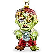 Zac the Zombie Glass Hanging Christmas Tree Bauble Decoration