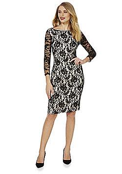Feverfish Lace Bodycon Pencil Dress - Black
