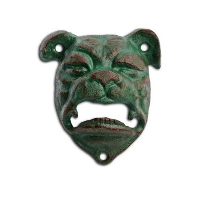 Wall Mountable Verdigris British Bulldog Head Cast Iron Bottle Opener