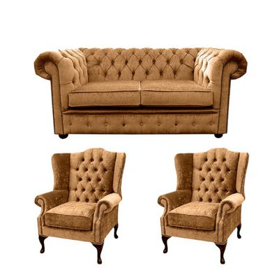 Chesterfield 2 Seater Sofa + 2 x Mallory Wing Chairs Perla Bronze Velvet Sofa Suite