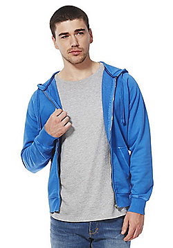 F&F Garment Dyed Zip-Through Hoodie - Blue