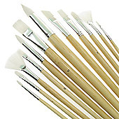Value Brush Set White Taklon LH Assorted 12 Pack