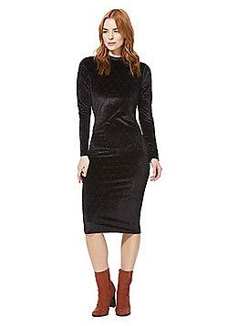 Vila Diamond Burnout Velvet High Neck Dress - Black