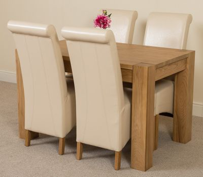 Kuba Chunky Solid Oak 125 cm Dining Table with 4 Ivory Montana Chairs