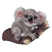 Grey Koala Bear on Branch Polyresin Garden Ornament for Tree or Wall Mounting