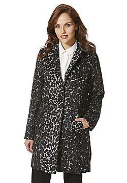 Vero Moda Leopard Print Boyfriend Coat - Black & Grey