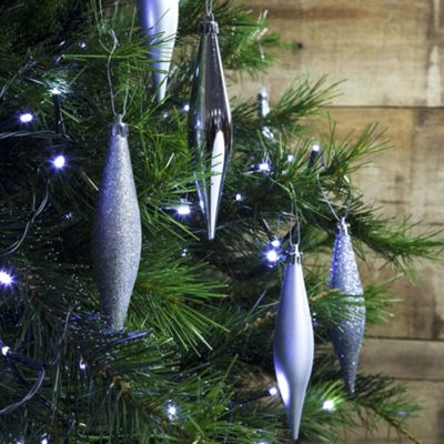 6pcs 14cm Shatterproof Silver Icicle Teardrop Christmas Tree Bauble Decorations