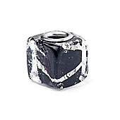 Black Glass Cube Slide On Bead