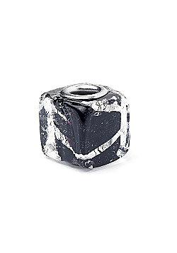 Black Glass Cube Slide On Bead