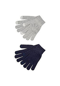 F&F 2 Pack of Diamant© and Sparkle Touch Screen Gloves - Grey & Navy