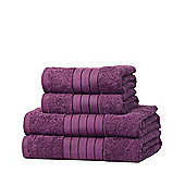 Dreamscene 100% Egyptian Cotton 4 Piece Hand Bath Towel Set - Plum