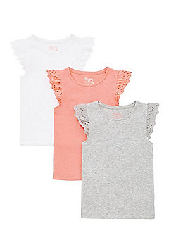 F&F 3 Pack of Frill Broderie Anglaise Trim Vests - Multi