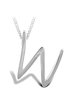 Sterling Silver 18 inch Initial Necklace Identity Pendant - Letter W