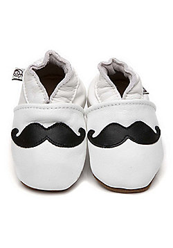 Olea London Soft Leather Baby Shoes Moustache - White