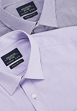F&F 2 Pack of Easy Care Regular Fit Long Sleeve Shirts - Purple