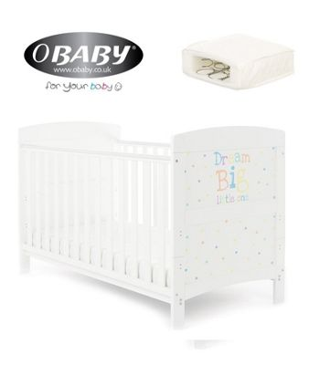 Obaby Grace Inspire Cotbed and Sprung Mattress - Dream Big Little One