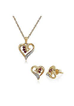 Gemondo 9ct Yellow Gold Ruby & Diamond Heart Stud Earring & 45cm Necklace Set