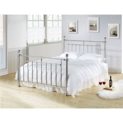 Chrome Nickel Classic Metal Bed Frame - King Size 5ft