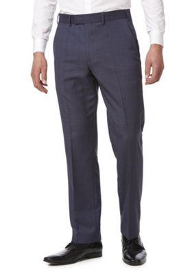 F&F Check Regular Fit Suit Trousers Blue 34 Waist 29 Leg