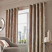 Crushed Velvet Pair of Fully Lined Eyelet Curtains, Natural Champagne - Natural