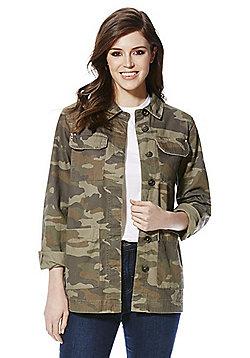 F&F Stud Detail Camouflage Shacket - Khaki