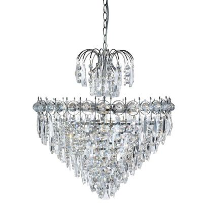 CATHERINE 7 LIGHT TIERED CRYSTAL CEILING, CHROME, CLEAR CRYSTAL BALL TRIM & SQUARE DROPS