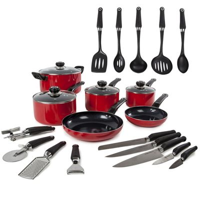 Morphy Richards 6 piece Pan Set with 14 Piece Tool Set - Red