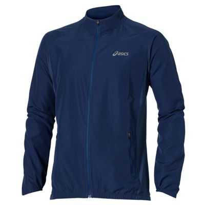 Asics Woven Mens Running Jacket Coat Navy Blue - M