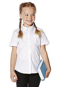 F&F School 2 Pack of Girls Easy Care Slim Fit Short Sleeve Shirts - White
