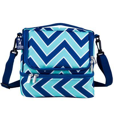 Dual Compartment Lunch Bags - Chevron Sea Breeze