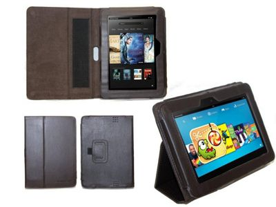 Navitech Brown Faux Leather Case With Flip Stand & Hand Strap For The Kindle Fire HD 7 inch