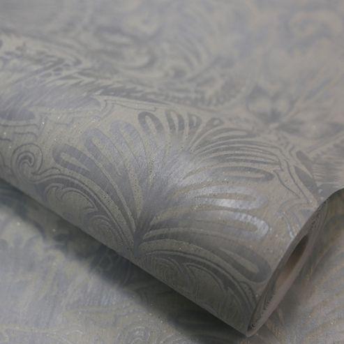 Designer Julian Macdonald Burlesque Damask Glitter Duck Egg Wallpaper