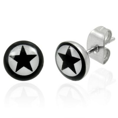 Urban Male Stainless Steel Black Star Stud Earrings For Men 7mm
