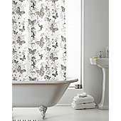 Country Club Shower Curtain Butterfly Grey 180 x 180cm