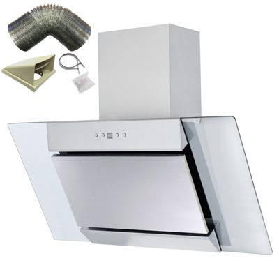 SIA AGL91SS 90cm S/Steel Angled Glass Chimney Cooker Hood Extractor+ 1m Ducting