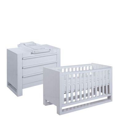 Tutti Bambini Rimini 2 Piece Room Set (Cot, Chest) - Gloss White Finish