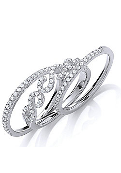 Rhodium Plated Sterling Silver Round Brilliant Cubic Zirconia 3 Piece Pave Ring