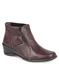Fly Flot Leather Ankle Boot - Burgundy