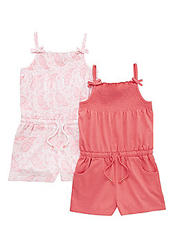 F&F 2 Pack of Paisley Print and Plain Playsuits - Pink