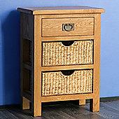 Surrey Oak Telephone Table with Baskets - Waxed Finish