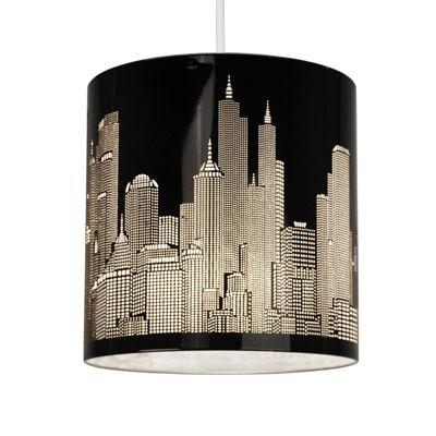 New York Skyline Ceiling Pendant Light Shade, Gloss Black