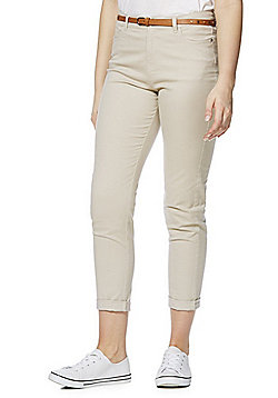 F&F Mid Rise Ankle Grazer Skinny Twill Trousers with Belt - Stone
