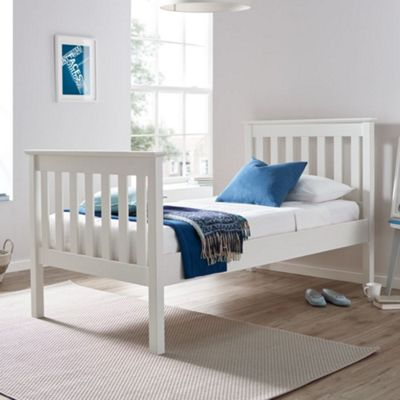 Happy Beds Lisbon Wood High Foot End Bed with Pocket Spring Mattress - White - 3ft Single