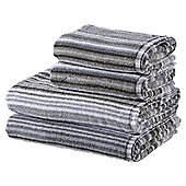 100% Cotton 2 Hand 2 Bath Towel Bale - Grey Stripe