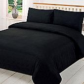 Brentfords Plain Duvet Cover with Pillowcase Bedding Set - Black