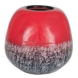 Red Ceramic Volcanic Effect Vase