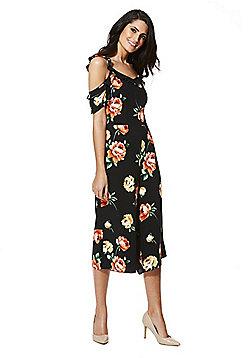 F&F Floral Print Cold Shoulder Culotte Jumpsuit - Black