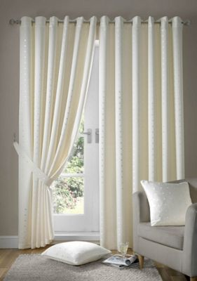 Alan Symonds Madison Cream Eyelet Curtains - 66x90 Inches (168x229cm)