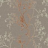 Precious Metals Orabella Wallpaper - Copper - Arthouse 673400