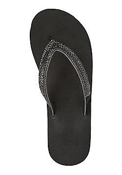 F&F Beaded Wedge Flip Flops - Black